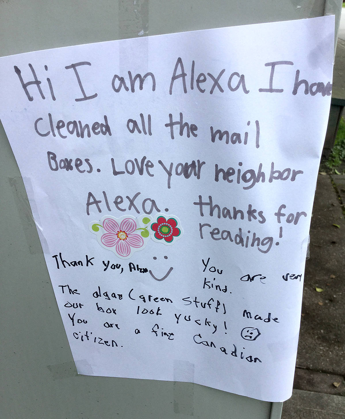 Alexa, assumed to be a nearby resident, took time to clean these mailboxes in the Garibaldi neighbourhood of Maple Ridge. She left a note on the side of the boxes, then another person added to the note, expressing gratitude for her efforts. (Neva Ledlin/Special to The News)