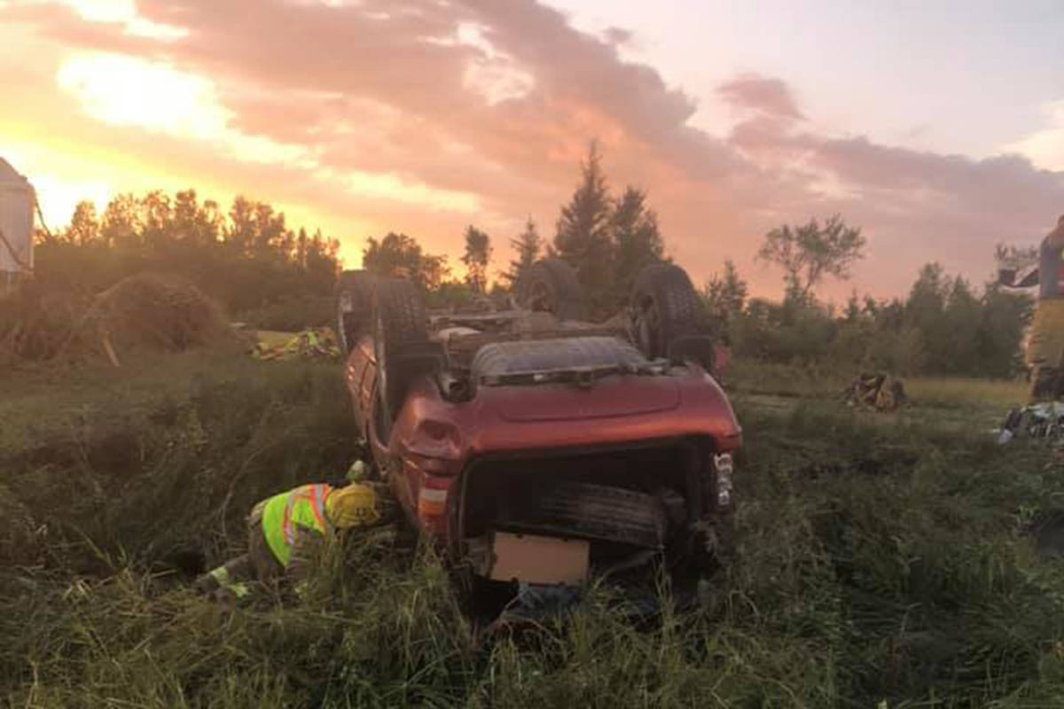 James Blacksmith said the windows on his vehicle were blown out by a tornado in Manitoba on Aug. 7 before it was tossed over and over again before landing on its roof. A first responder checks on an overturned vehicle at the scene where a tornado touched down, uprooting trees and overturning two vehicles near Virden, Man., in a Friday, Aug. 7, 2020, handout photo published to social media. THE CANADIAN PRESS/HO-Wallace District Fire Department, *MANDATORY CREDIT*